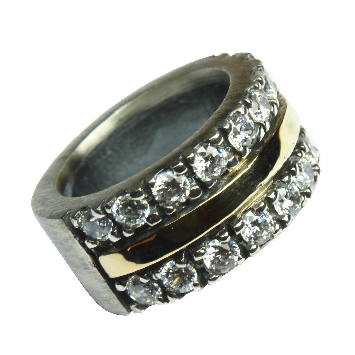 37355ad5a1bed Anel de prata e ouro - Comprar anel de prata e ouro com zircões em ...